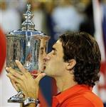 Roger Federer US Open Champion 2008 with Trophy