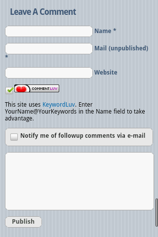 Kikolani Post Comment Form using WPtouch iPhone Theme