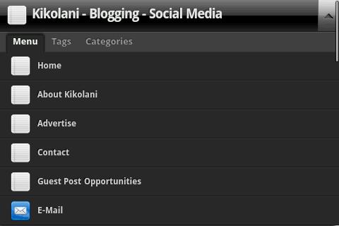 Kikolani Customizable Menu using WPtouch iPhone Theme