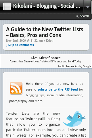 Kikolani Post using WPtouch iPhone Theme
