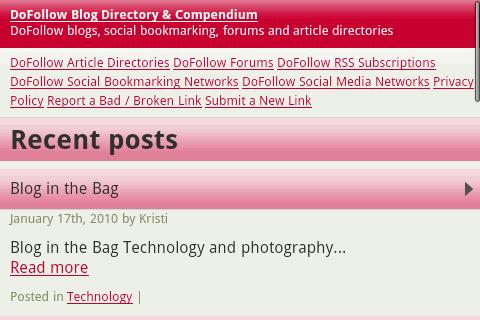Homepage using WordPress Mobile Pack