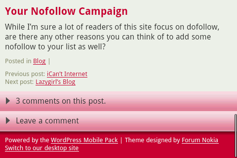 Post Footer using WordPress Mobile Pack