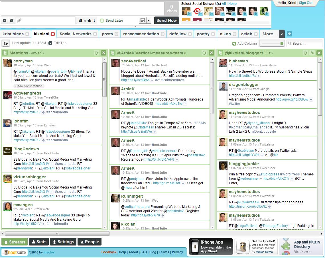 HootSuite Blogging Setup