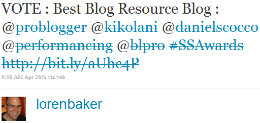 Search & Social Awards Best of Blogging Tweet