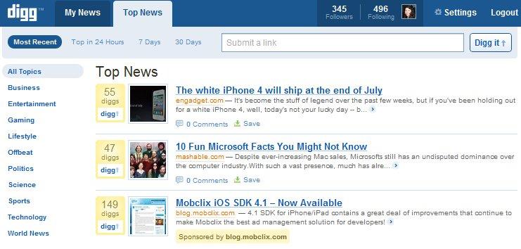New Digg Top News