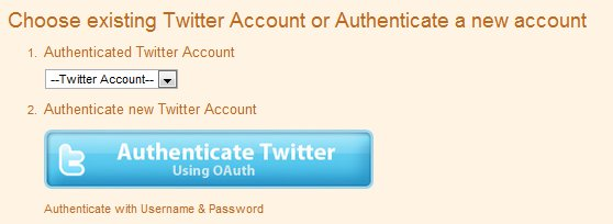 Twitterfeed Twitter Account Authentication OAuth