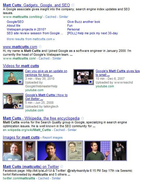 Matt Cutts in Google Search Results