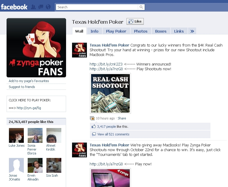 Texas Holdem Facebook Page