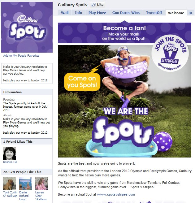 Cadbury Facebook Page