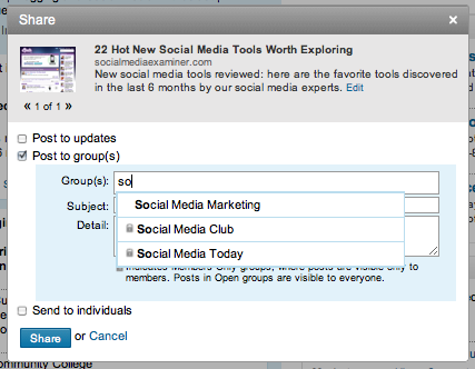 LinkedIn Share Link with Groups