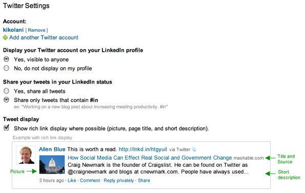 LinkedIn Profiles - Twitter Settings