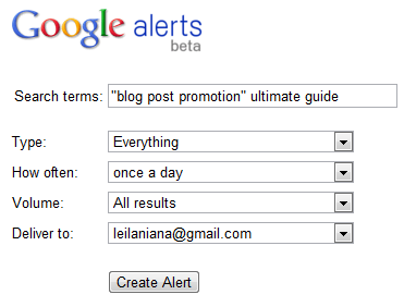 Google Alerts for Brand Monitoring