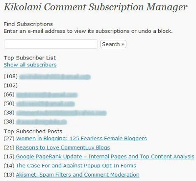 Subscribe to Comments Dashboard