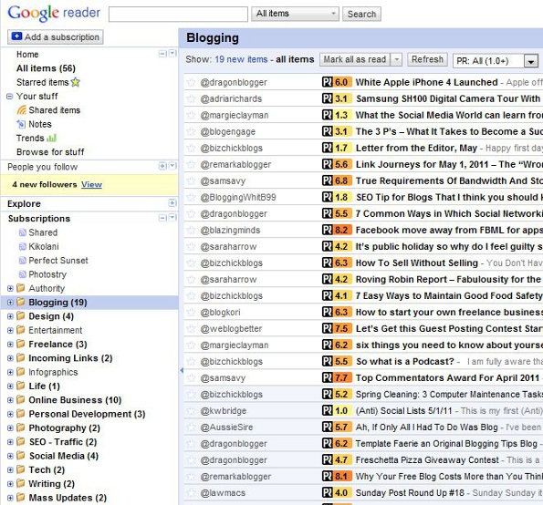 Google Reader RSS Subscription Organization