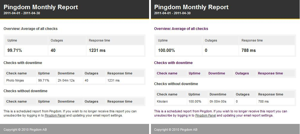 Pingdom Monthly Report