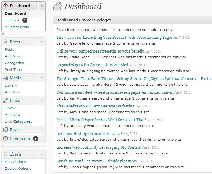 Dashboard Luvvers Widget for CommentLuv 2.9