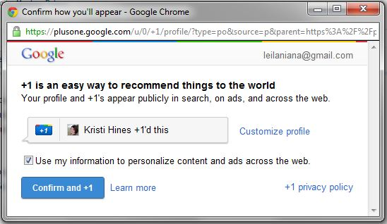 Google +1 Confirmation