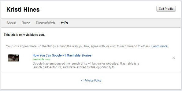 Google +1 Recommendations on Google Profiles