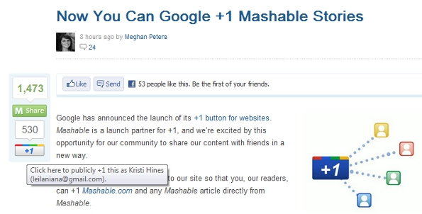 Google +1 on Mashable