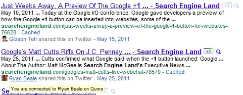 Google Social Connections in Search