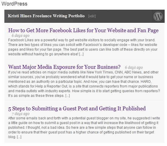 WordPress Application on LinkedIn