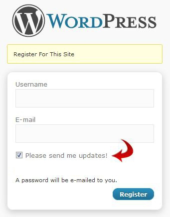 WordPress Registration Screen with Newsletter Opt-In