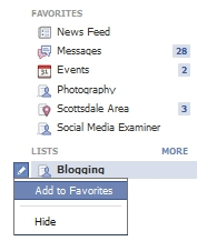 New Facebook Updates - Add Custom Lists to Favorites