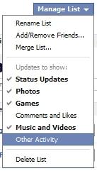 New Facebook Updates - Manage Custom List Update Types