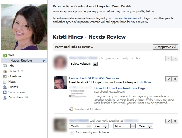 New Facebook Updates - Review Profile Content & Tags for Your Profile
