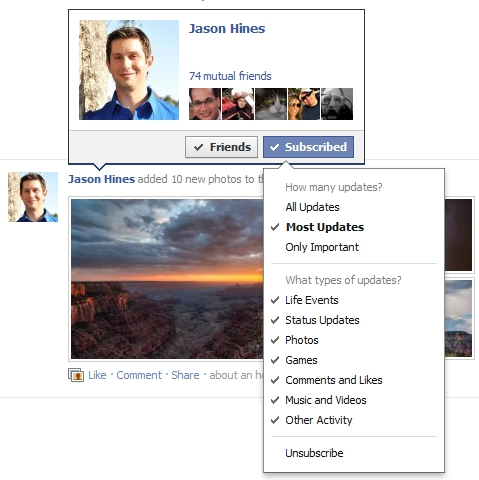 New Facebook News Feed Subscription Options