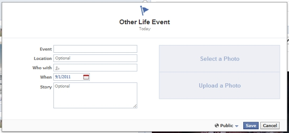 New Facebook Personal Profile Timeline Life Events