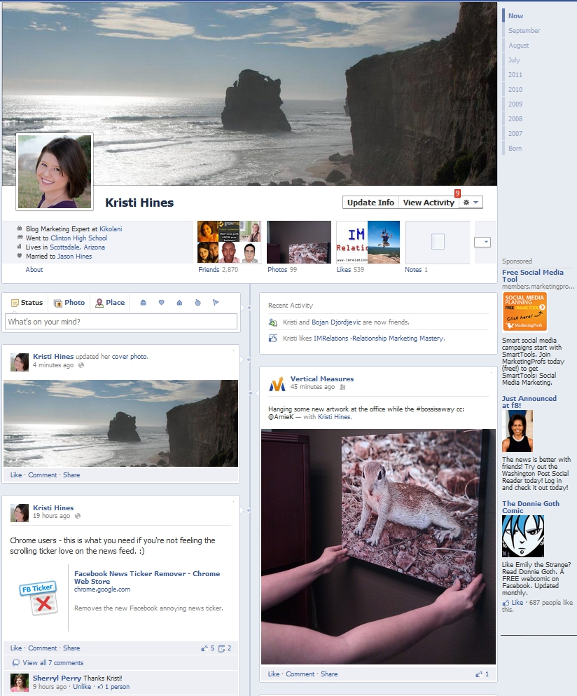 New Facebook Profile Timeline Design Complete
