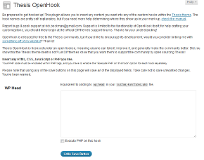 Thesis OpenHooks Plugin Options