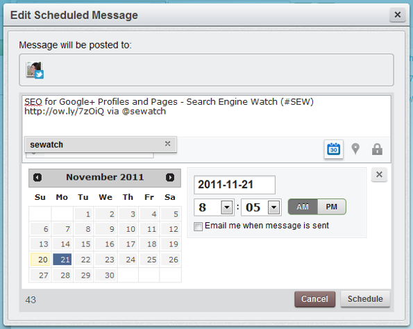 HootSuite Publisher - Editing Tweet Schedule