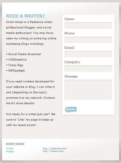 Contact Form for a Facebook Fan Page by Pagemodo
