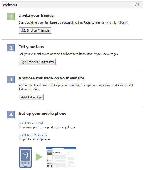 Get Started Tab on New Facebook Fan Pages