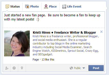 Sharing Your New Facebook Fan Page