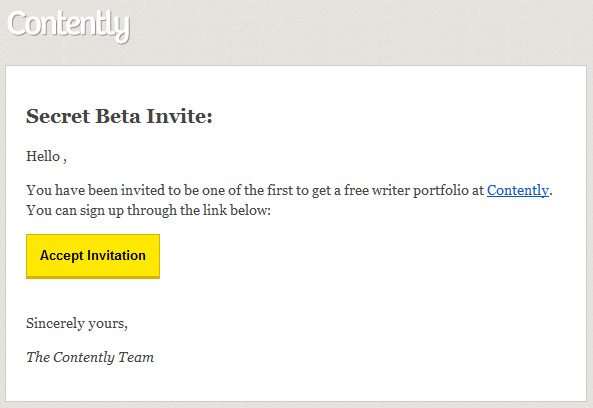 Contently Beta Invite Signup