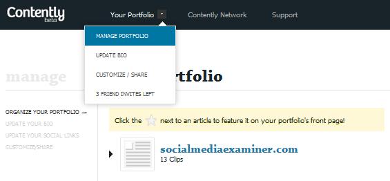 Contently - Manage Portfolio