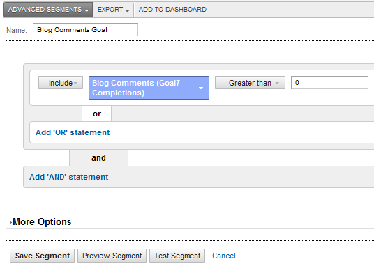 Google Analytics 5 - Completed Advanced Segment Setup