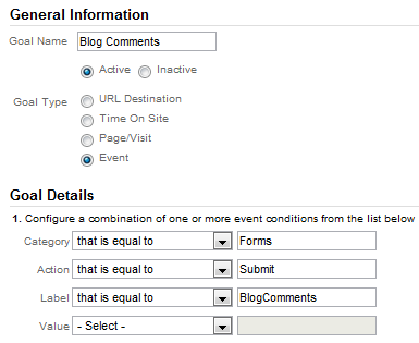Google Analytics 5 Goal Setup Event Type