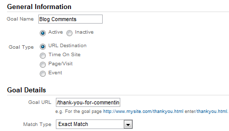 Google Analytics 5 Goal Setup URL Destination Type