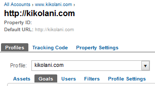 Google Analytics 5 Goals Tab