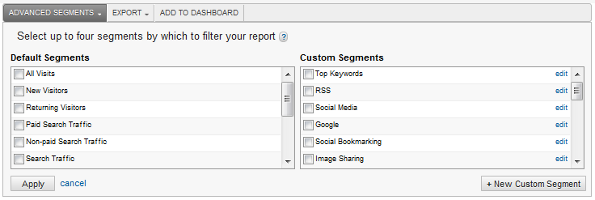 Google Analytics 5 - New Custom Segment