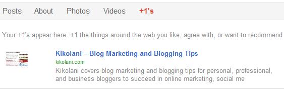 Google +1s on Google+ Profile