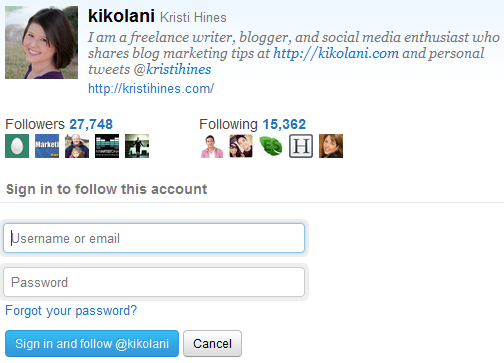 Twitter Follow Button Popup