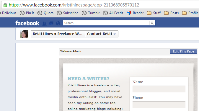 New Facebook Pages Timeline Design - Default Landing Tab URL