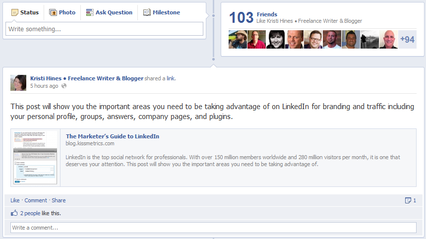 New Facebook Pages Timeline Design - Highlighted Posts