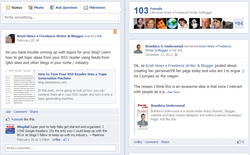 New Facebook Pages Timeline Design - Pinned Status Updates