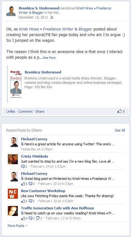 New Facebook Pages Timeline Design - Recent Posts by Others